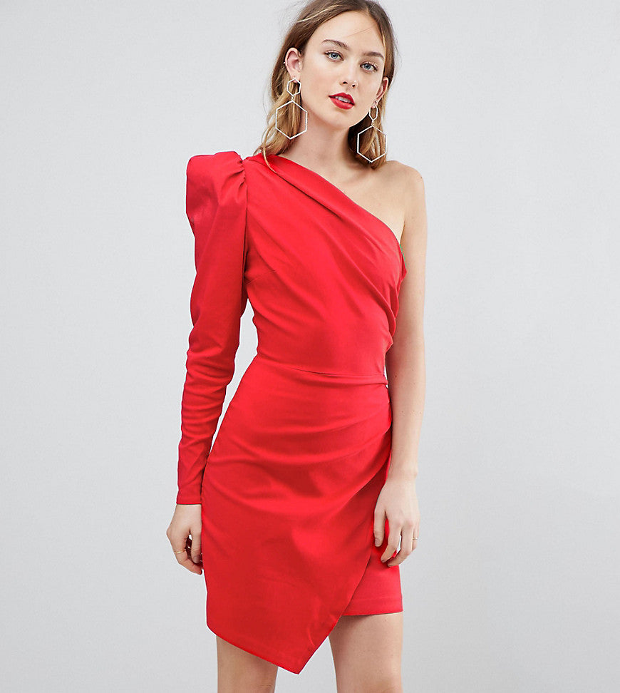 ASOS Tall ULTIMATE One Shoulder Structured Mini Dress - Red
