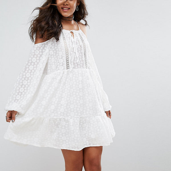 Glamorous Tall All Over Lace Cold Shoulder Skater Dress - White