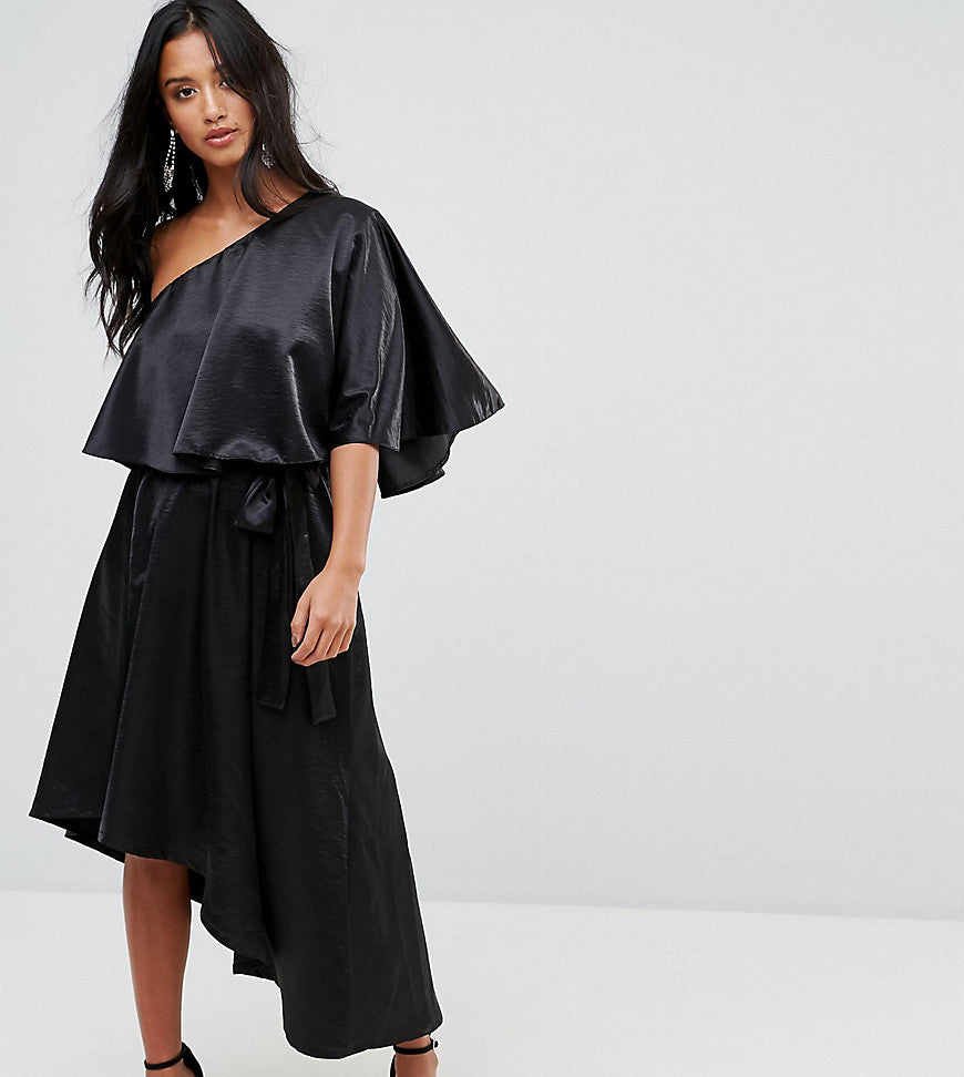 John Zack Petite Ruffle One Shoulder Midi Dress - Black