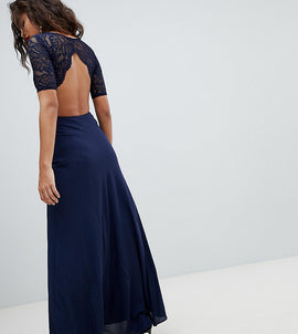 John Zack Tall Lace Open Back Maxi Dress - Navy