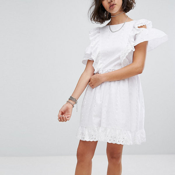 Reclaimed Vintage Inspired Broderie Mini Dress With Trims & Frills - White
