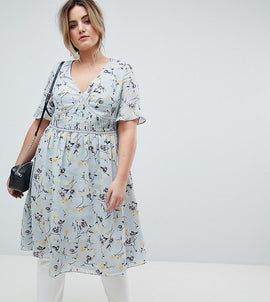 Lovedrobe Midi Tea Dress In Ditsy Floral - Mint multi