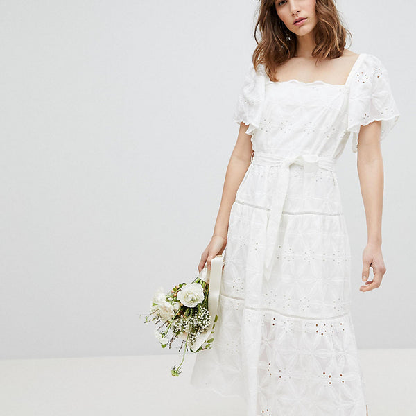 Stevie May Exclusive Floral Embroidered Smock Midi Dress - White