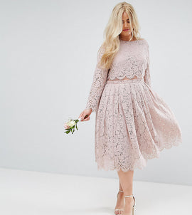 ASOS CURVE WEDDING Lace Long Sleeve Midi Prom Dress - Mink