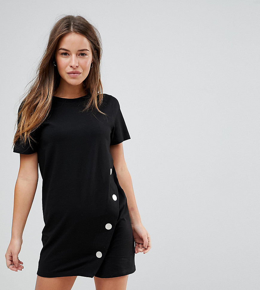 ASOS PETITE T-Shirt Mini Dress With Popper Detail - Black