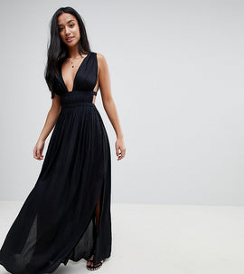 ASOS PETITE Grecian Plunge Maxi Woven Beach Dress - Black