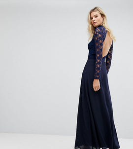 John Zack Tall Over Lace Top Maxi Dress With Open Back - Navy