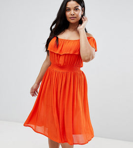 Brave Soul Plus Petal Midi Dress with Frill Bardot - Red