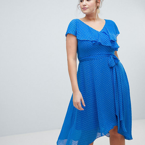 Coast Plus Dobby Wrap Dress - Mid blue