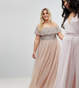 Maya Plus Bardot Sequin Top Tulle Detail Dress With High Low Hem - Taupe blush
