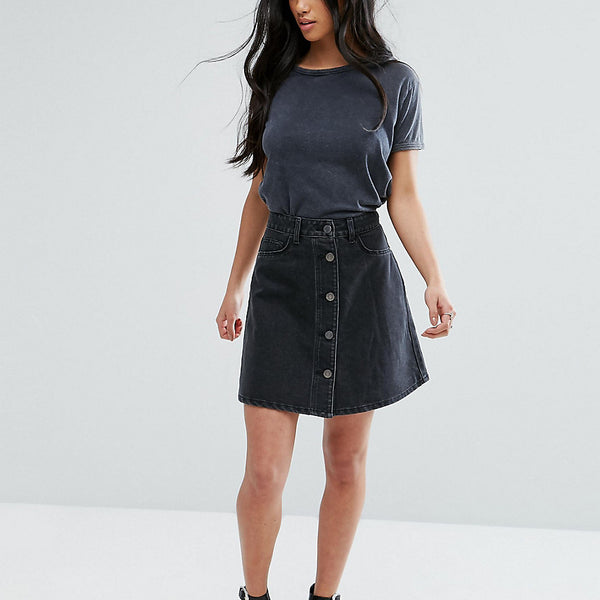 Noisy May Petite Button Through Denim Skirt - Black