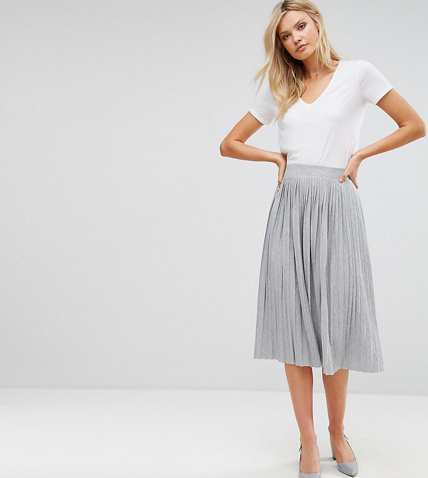 Vero Moda Tall Pleated Midi Skirt - Light grey melange
