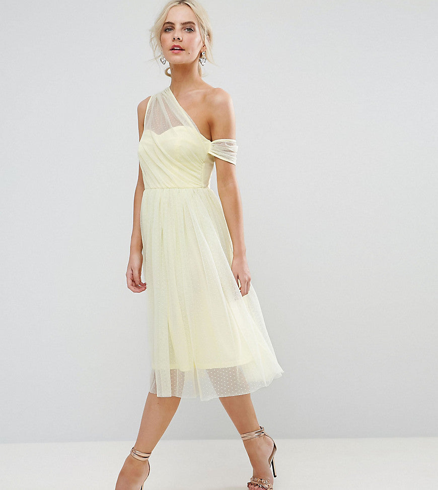 ASOS PETITE Dobby Mesh One Shoulder Prom Dress - Yellow