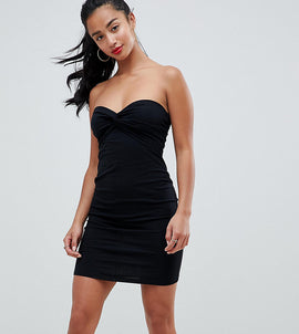 ASOS PETITE Mini Twist Front Bandeau Dress - Black