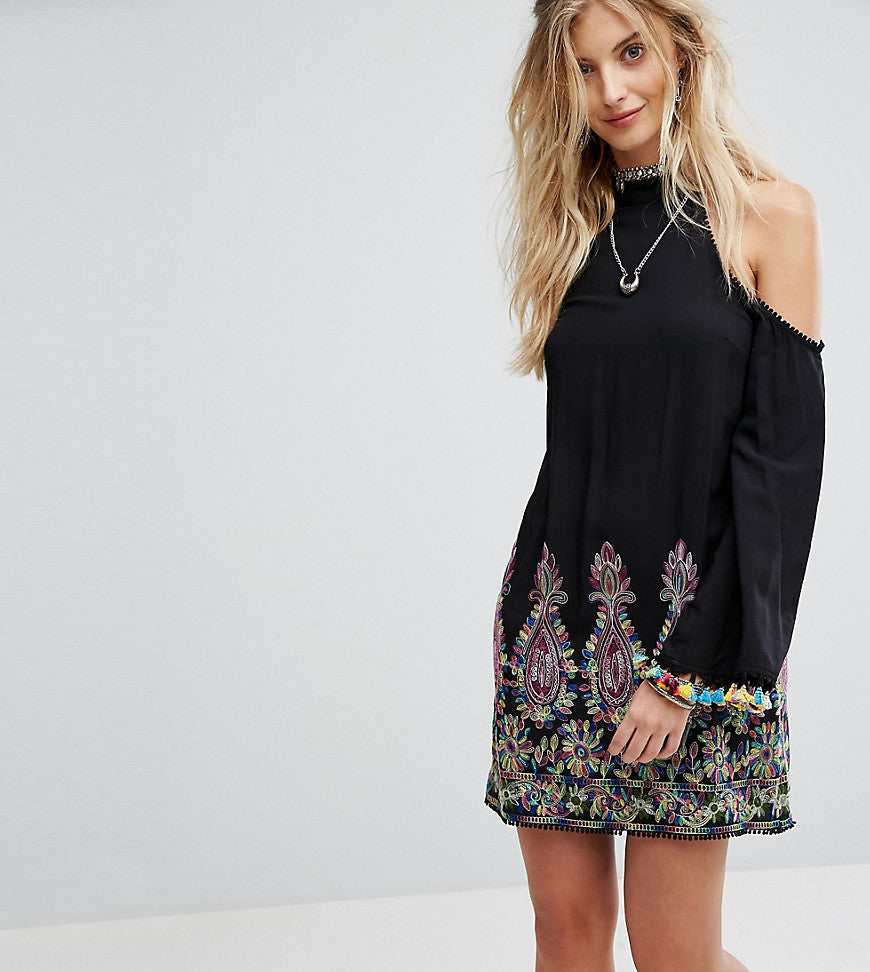 Kiss The Sky High Neck Swing Dress With Rainbow Embroidery And Pom Pom Trim - Black multi
