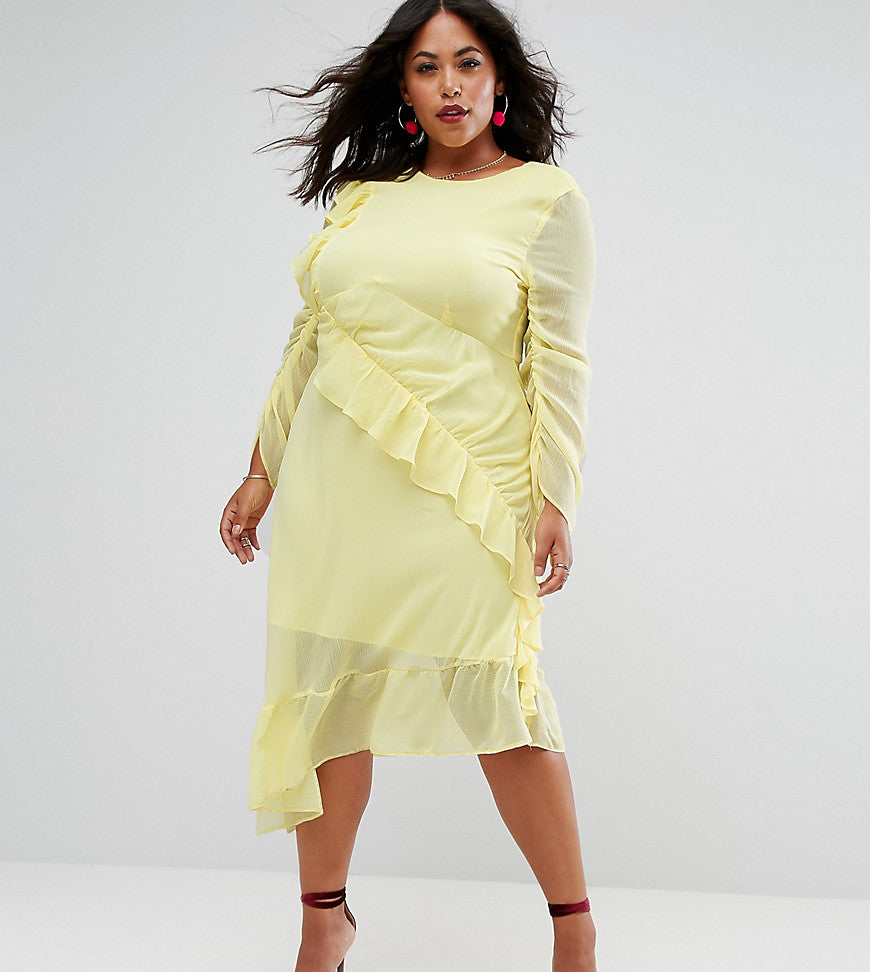 ASOS CURVE Ruffle Front Midi Tea Dress - Yellow