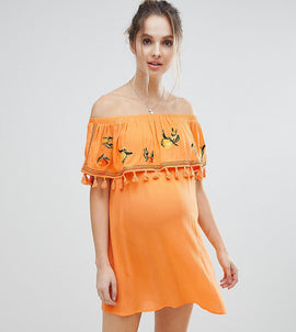 ASOS Maternity Fruit Embroidered Bandeau Beach Dress - Orange