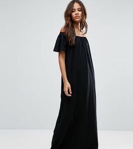 ASOS TALL Off Shoulder Maxi Dress - Black