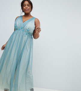 Little Mistress Plus Full Tulle Maxi Dress With Embroidery - Dusty blue
