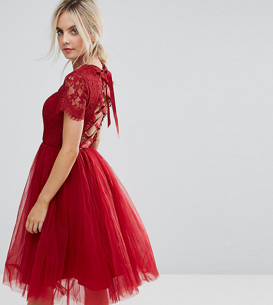 Chi Chi London Petite Midi Tulle Dress with Lace Up Back - Wine