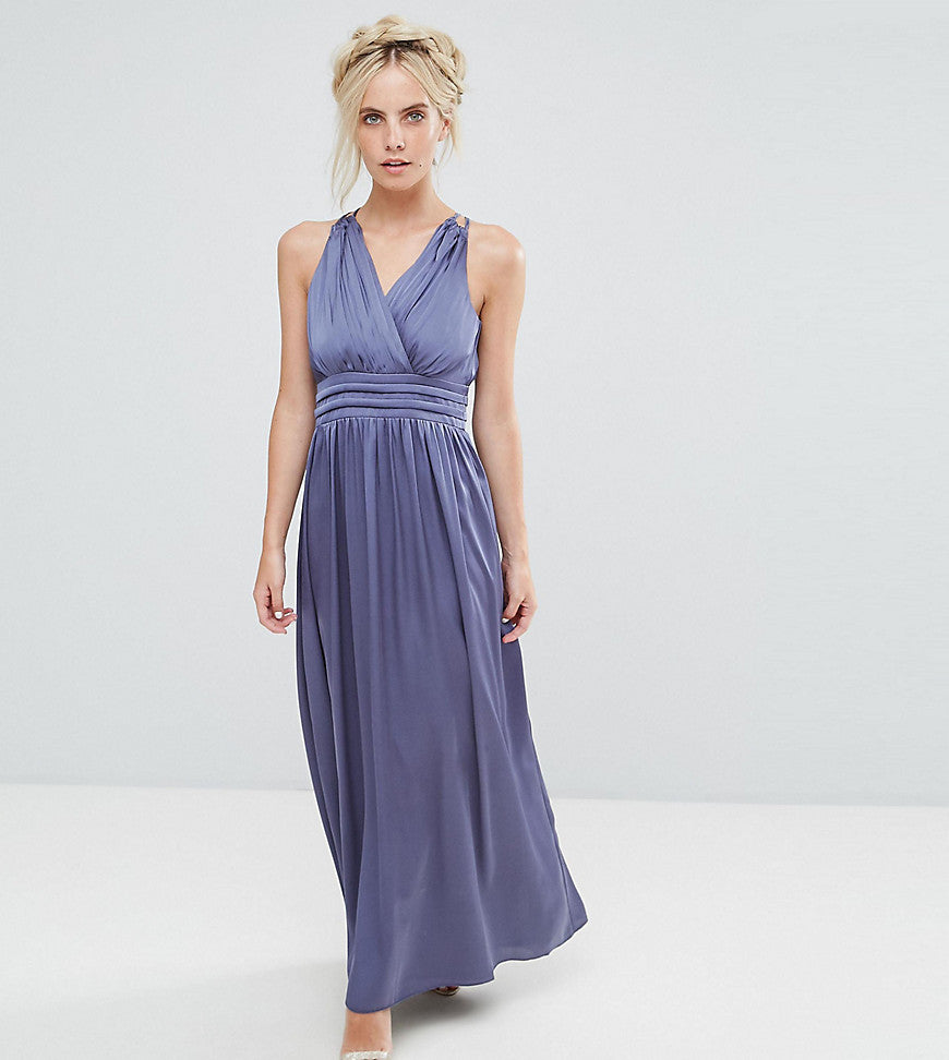 Little Mistress Petite Wrap Front Strappy Maxi Dress - Lavender grey