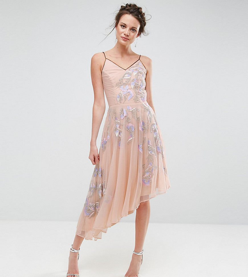 Frock And Frill Tall Embroidered Cami Strap High Low Midi Dress With Plunge Back Detail - Lilac
