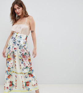 ASOS DESIGN Petite scuba prom skirt with mirrored flower print - Multi
