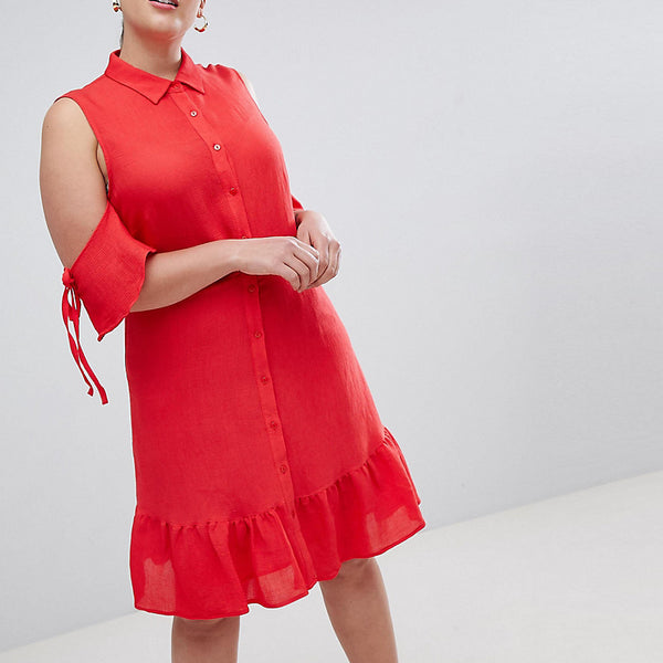 Lost Ink Plus Fit And Flare Shirt Dress With Cold Shoulder And Frill Hem - Red