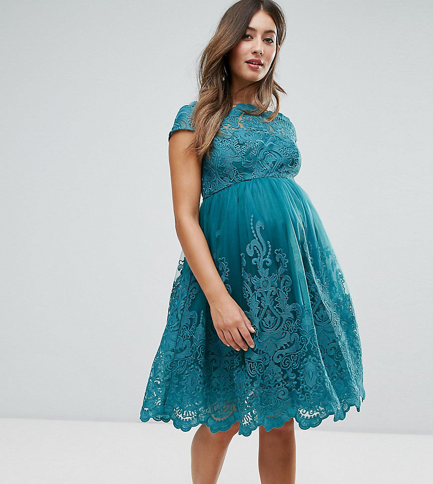 Chi Chi London Maternity Premium Lace High Low Dress - Green