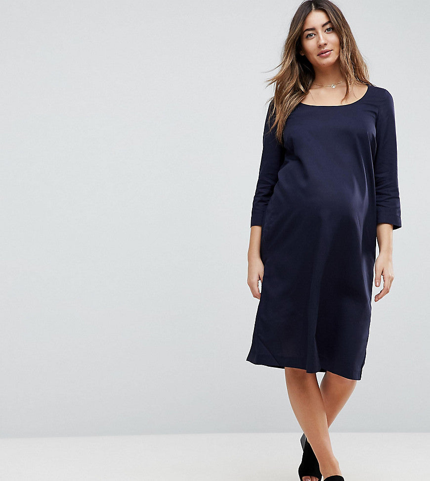 Mamalicious Tie Front Detail Woven Shift Dress - Navy