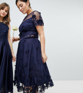 Coast Plus Neive Floral Applique Skirt - Navy