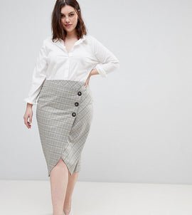 ASOS DESIGN Curve tailored midi skirt in check with button wrap detail - Check
