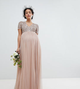 Maya Maternity V Neck Maxi Tulle Bridesmaid Dress with Tonal Delicate Sequins - Taupe blush