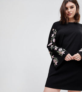 ASOS DESIGN Curve sweat dress with puff print sleeve - Black