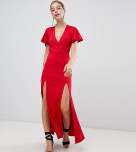 Miss Selfridge Petite V Neck Maxi Dress - Red