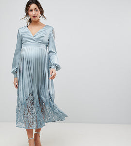 Little Mistress Maternity Wrap Front Midi Dress With Lace Pleated Skirt - Cornflower