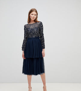 Maya Long Sleeve Sequin Top Midi Dress With Tiered Tulle Skirt - Navy
