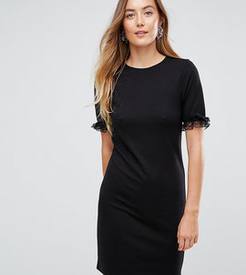ASOS TALL T-Shirt Dress In Ponte With Lace Frill Sleeve - Black