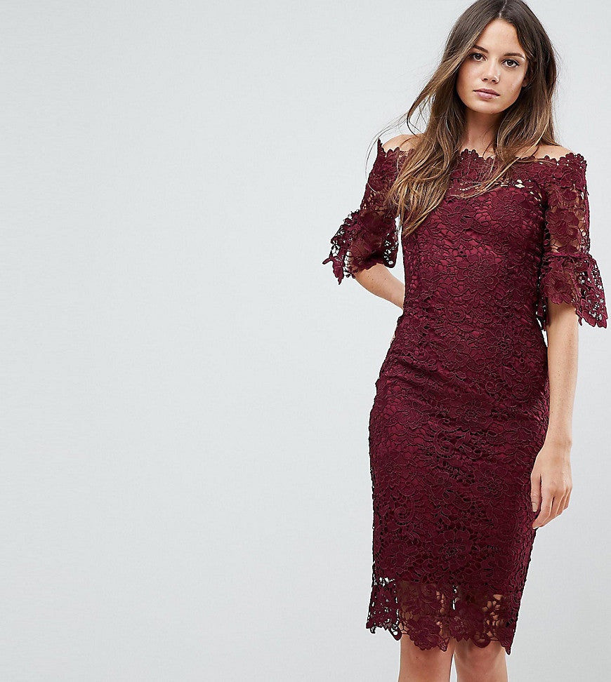Paper Dolls Tall Off Shoulder Crochet dress with Frill Sleeve - Burgundy