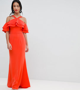 Jarlo Petite Oversized Ruffle Front Maxi Dress - Tomato orange