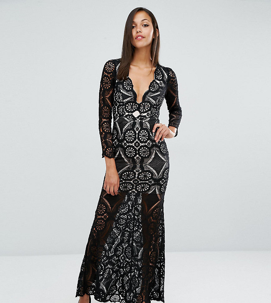Love Triangle Fishtail Maxi Dress in Allover Lace - Black