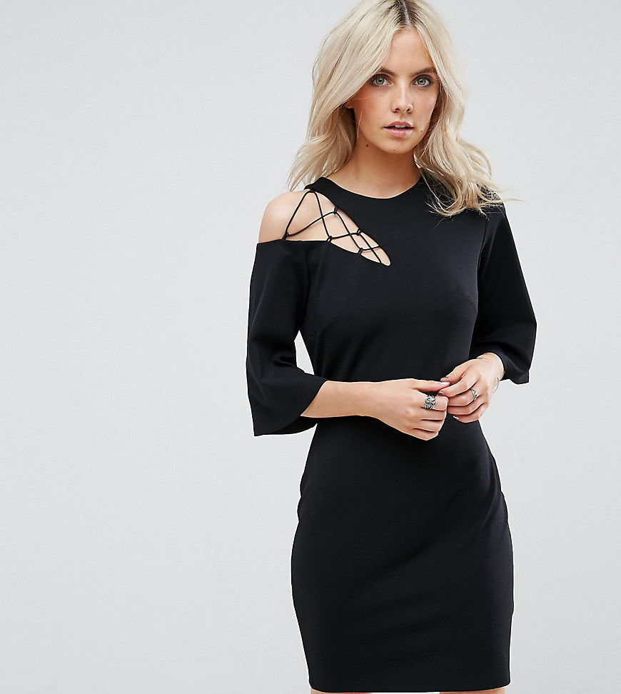 ASOS PETITE Fluted Sleeve Shift Dress with Ladder Detail - Black
