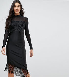 Y.A.S Tall Bodycon Dress With Fringing - Black