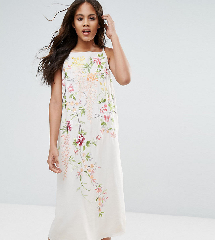 ASOS TALL Embroidered Cami Slip Midi Dress - Stone