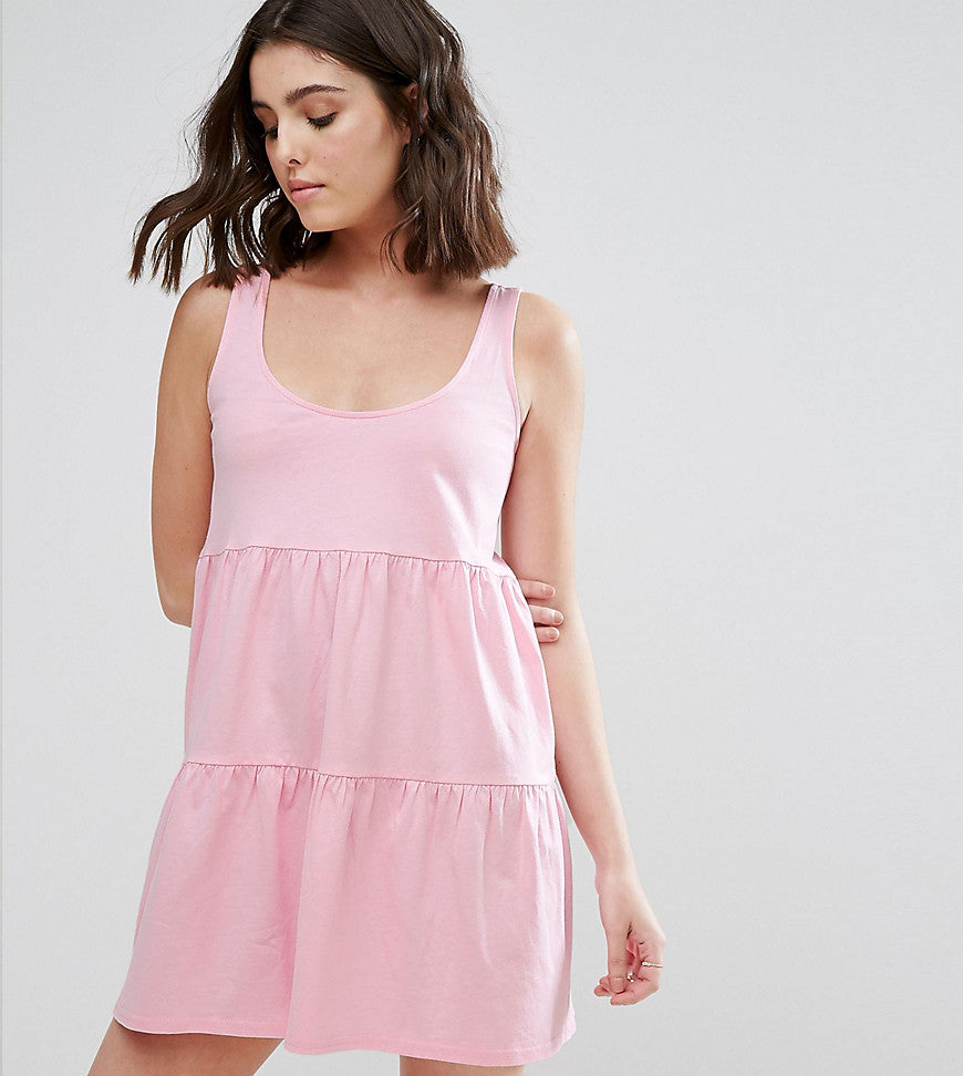 ASOS PETITE Sleeveless Smock Sundress With Lace Up Back - Pink