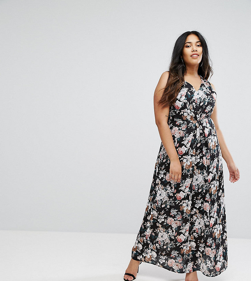 Uttam Boutqiue Plus Floral Print Maxi Dress With Lace Trim - Black