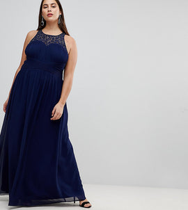 Little Mistress Plus Maxi Dress With Embellishment - Navy