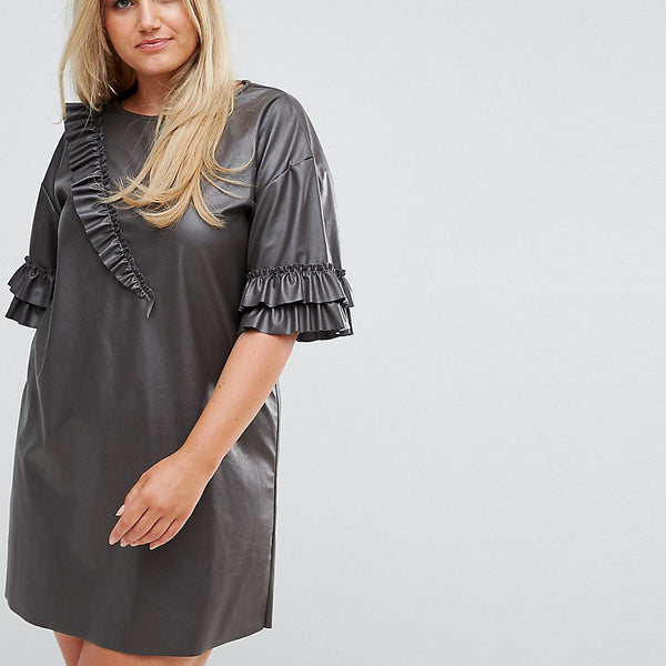 Elvi Faux Leather T Shirt Dress With Ruffle Detail - Black