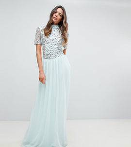Frock And Frill Tall Premium Embellished Top Maxi Dress - Duckegg