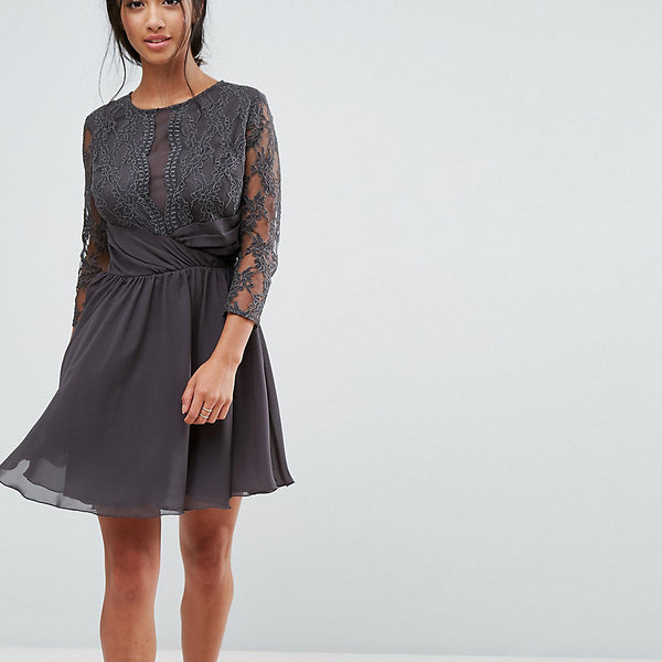 Elise Ryan Petite Ruched Waist Lace Midi Dress With 3/4 Length Sleeve - Dark grey